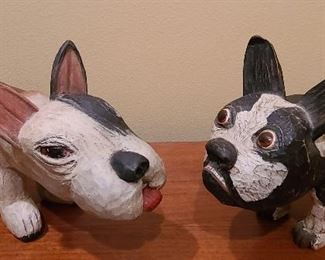 Pair Folk Art carved dogs no signature