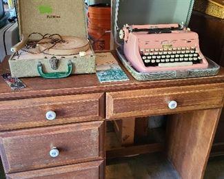 vintage desk record player typewriter
