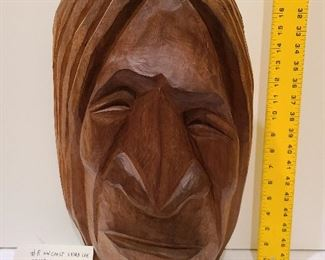 "Lot 8 NW Coast Salish Extra Large Head Cedar, Rocky Mathis Joe 18 "" signed 1973"