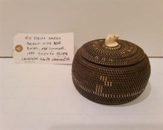 """Lot 11 Eskimo Baleen Basket Bear Finial, Abe Simmons 1945 Collection of Ralph Woodworth 4.5 x 3"""" H"""