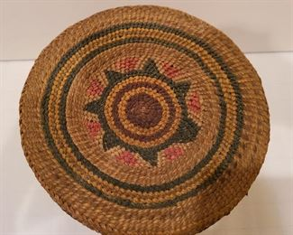 Lot 14 early Makah Basket the Whale Hunt detail of top