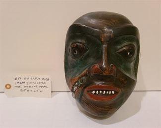 "Lot 13 NW Coast Salish Makah Yellow Cedar Mask abalone detail 8'5 x 6.5"""
