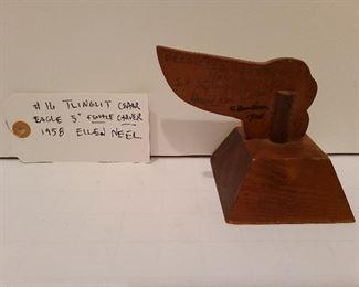 Lot 16 view 2 Tlinglit Cedar Eagle female carver Ellen Neel 1958, 5 inches, inscribed