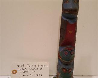 Lot 19 Tlinglit Totem Cedar George M Martin Frogs Beneath Bird 11 inches 1950s