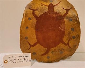 Lot 23 view 1 Southwest Pueblo Tortoise Shell Drum 12 H x 10 w 1940s to 50s