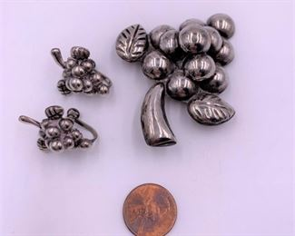 Mexican silver pin and earrings