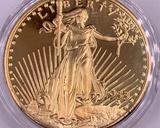 Replica of 1933 gold coin -- NOT gold