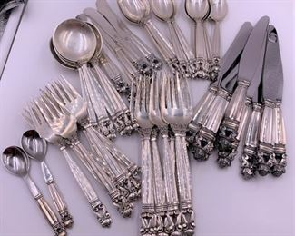 Georg Jensen Acorn Pattern 8 piece set with many serving pieces.