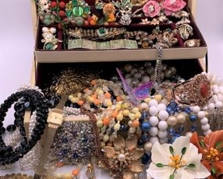 Treasure chest of unmarked costume jewelry