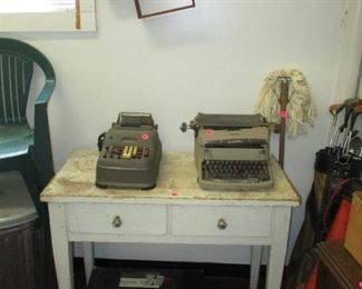 Primitive table and vintage typewriter and adding machine