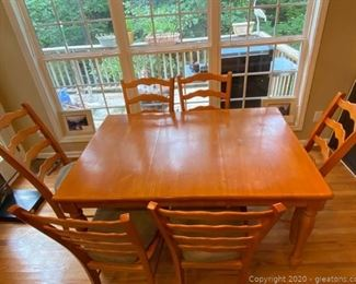 Wooden Table with Leaf and Dining Chairs