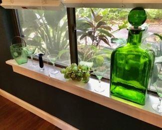 Vintage green  glass
