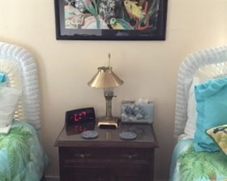 Glass Top Night Stand, tropical Art  (Beds not for Sale)