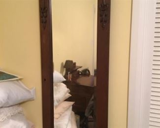One of two Antique Beveled Mirrors, originally doors