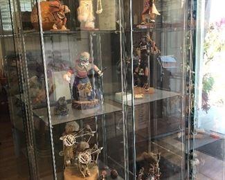 Glass showcases Kachina dolls