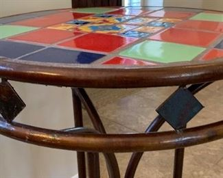 #1 Tile Top Steel Frame Mexican Rustic Pub Table High Top Table Round	35.5in H x 26.5in Diameter	HxWxD