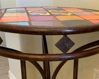 #2 Tile Top Steel Frame Mexican Rustic Pub Table High Top Table Round	35.5in H x 26.5in Diameter