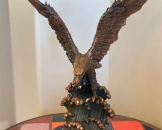 Large Landing Eagle Statue Poly Resin Faux Bronze Statue w/ Base	21x16x10in	HxWxD