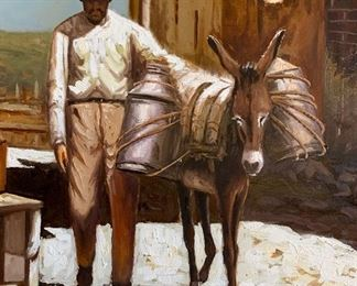 *Original* Unsigned  Rudy w/ Donkey in Mexican Villa Painting Art	47x59x3in	HxWxD
