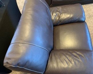 Natuzzi Editions Contemporary Leather Oversize ChairCouch Dark Chocolate	37x40x36in	HxWxD