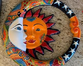 Mexican Pottery lg TALAVERA Sun Moon ECLIPSE wall plaque Southwest	3in H x 23in Diameter