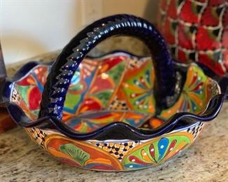 Mexican Pottery lg TALAVERA Ceramic Basket Southwest