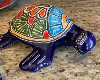 3pc Mexican Pottery TALAVERA  2 frogs & turtle 	Largest 11in long