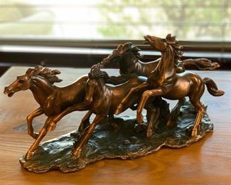 Poly Resin Faux Bronze Wild Horses	9x17x6in	HxWxD