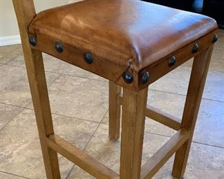 Set of 5 Mexican Rustic Counter Height Chairs Bar Stools	47x20x20in seat: 30.5in	HxWxD