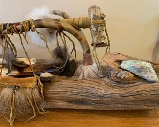 Artist Made Native American War Mallet Display	10x33x9in	HxWxD