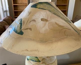2pc Hand Painted Leaf Lamps PAIR	26in H x 21in Diameter