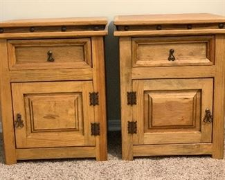 #1 2pc Mexican Rustic Nightstands PAIR	27.5x22x21in	HxWxD