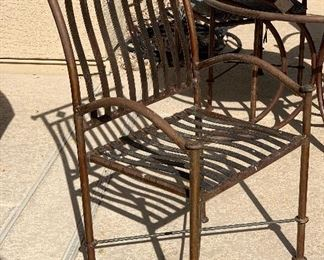 Iron Tile Top Patio Table w/ 4 Chairs	Table: 32in H x 42in Diameter Chairs: 41x25x23in