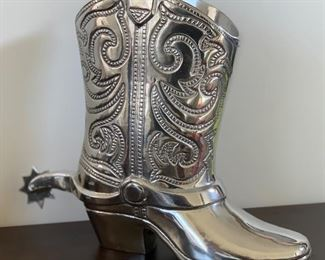 Holland Boone Pewter Cowboy boot Wine Holder	12x5x14inH	HxWxD