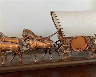 Covered Wagon United Clock Corp Vintage	10x19.5x4.5in	HxWxD
