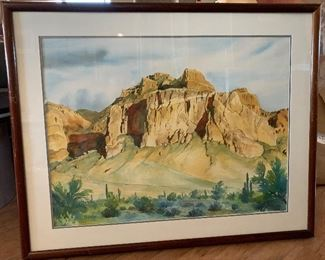 *Original* Signed G Davis Watercolor Superstition Mountains South West Landscape Painting	29.5x36.5x1.25in	HxWxD