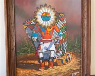 *Original* Lawrence Spencer Sunface Kachina Painting	23.5x20x2in	HxWxD