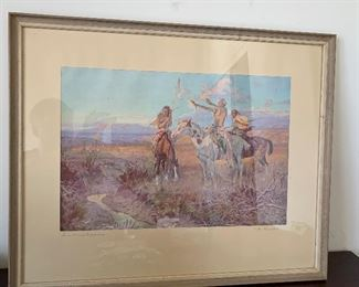 CM Russell Sun Worshippers Native American on Horseback Print Framed	18x22x.75in	HxWxD