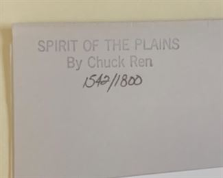 *Signed* Chuck Ren Spirit of the Plains Lithograph Limited Edition 1542/1800	27x20.5in	HxWxD
