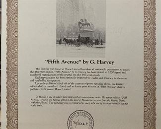 *Signed* G Harvey Fifth Avenue Lithograph Artist Proof limited Edition 69/150 AP