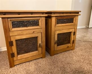 Rustic Mexico wood w/metal inserts nightstands pair	22x21x28 x2	HxWxD