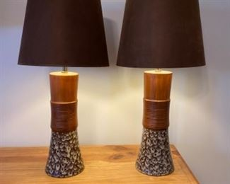 Ceramic table lamp pair	30 in tall 7 in wide