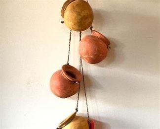 Dangling Mexican Clay Pots Decor 	37in Hang