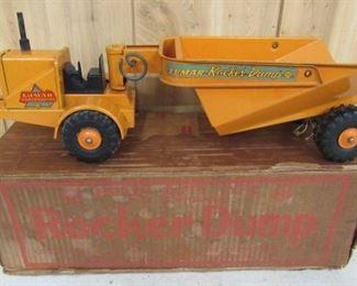 1950's Metal Marx Toys Rocker Dump Truck w/Box