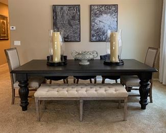 World Market Dining Table w 6 Chairs and Tufted Bench, Statement Hurricanes