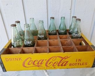 Vintage wooden Coca Cola Bottle Crate with bottles