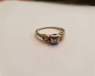 14K Gold Ring with small diamond
