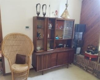 MCM dining room china hutch, cabinet breaks into two pcs. Available for pre-sale, priced @ $350