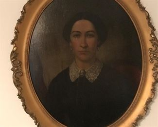 Mrs. O'Connell or O'Donnell painted by artist, J. Reid in 1877.  One in a series of three portraits of the same family.