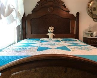 Gorgeous Walnut East Lake Victorian Bed With a lovely Hand-Embroidered and Hand-Quilted Queen Size Quilt.